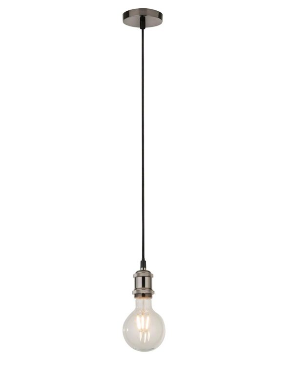 Ceiling Pendant Cable Set For E27 Bulb With Shade Ring Satin Silver