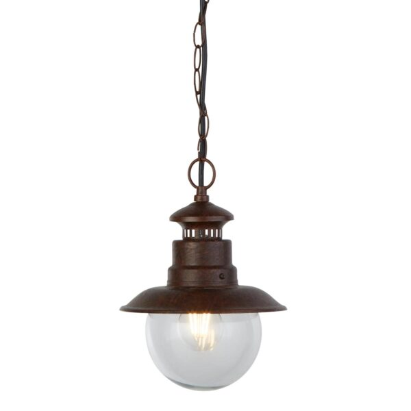 Traditional 1 Light Hanging Outdoor Porch Station Lantern Rustic Brown