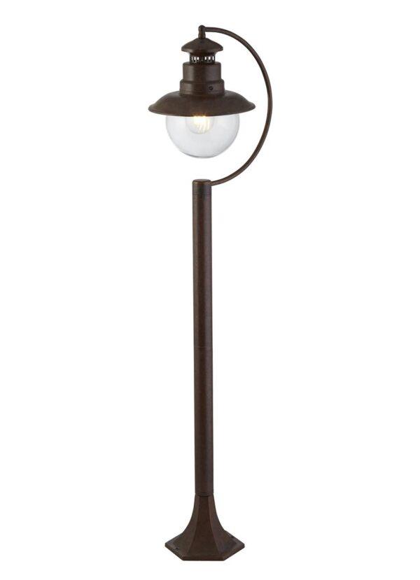 Traditional 1 Light Outdoor Garden Post Station Lantern Rustic Brown IP44