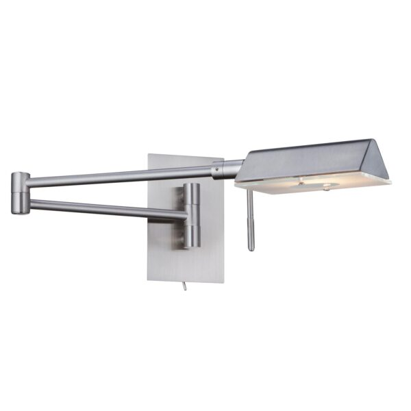 Apothecary Switched Adjustable Swing Arm Wall Light Satin Silver