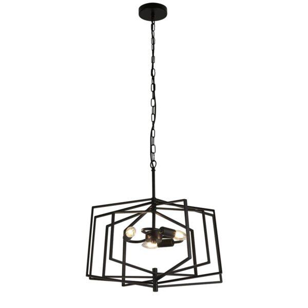 Slinky Large 3 Lamp Adjustable Cage Pendant Ceiling Light Matt Black