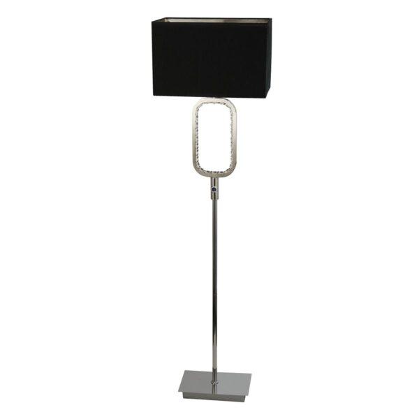 Chrome 1 Light Floor Lamp Crystal Touch Dimmer LED Base Black Shade