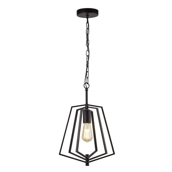 Slinky Small 1 Lamp Adjustable Cage Pendant Ceiling Light Matt Black