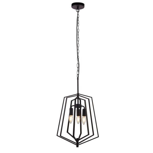 Slinky Medium 3 Lamp Adjustable Cage Pendant Ceiling Light Matt Black