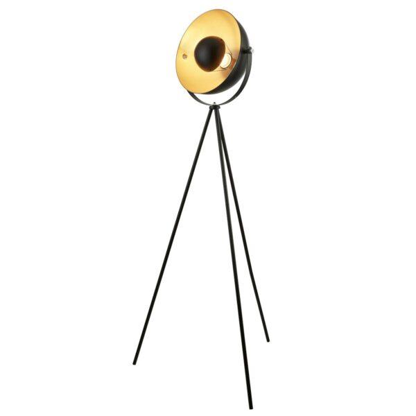 Blink Matt Black 1 Light Film Studio Tripod Floor Lamp Gold Shade Inner