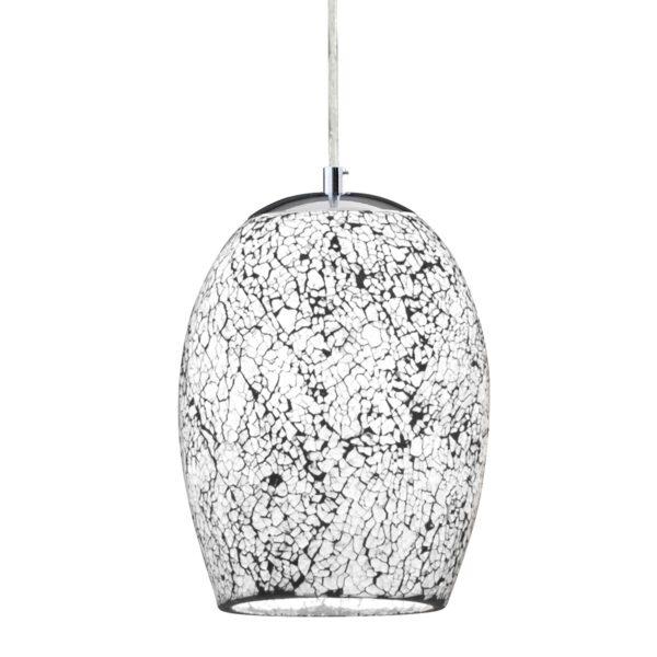 Mosaic White Crackle Glass Single Pendant Ceiling Light Satin Silver