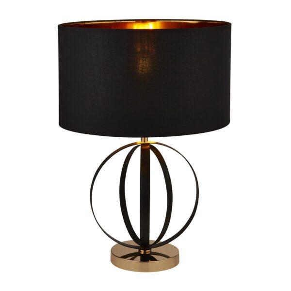 Modern 1 Light Table Lamp 2 Tone Black & Gold Lined Black Shade