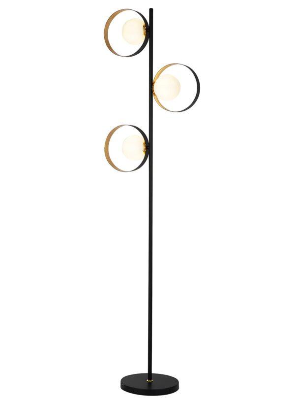 Retro Matt Black & Gold 3 Light Orbital Floor Lamp Opal White Globes