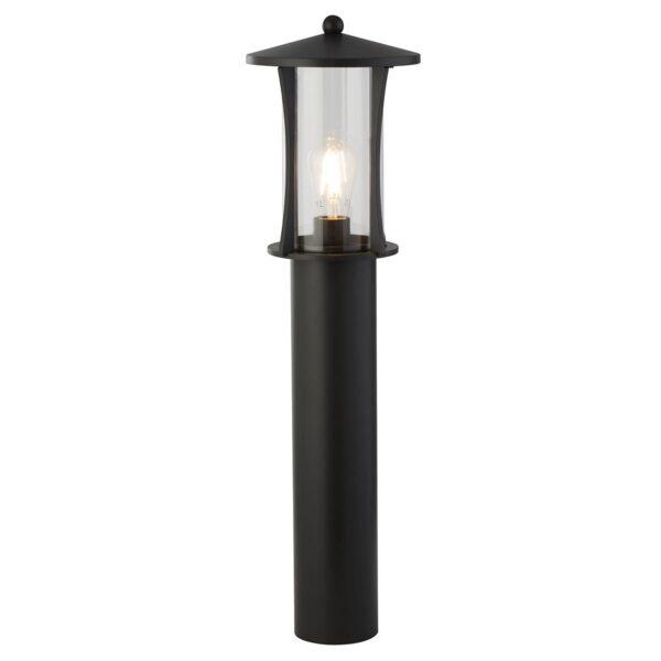 Pagoda 1 Light Traditional Outdoor Garden Post Lantern Matt Black IP44