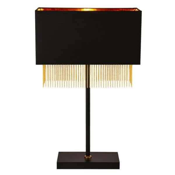 Fringe 1 Light Table Lamp Matt Black Gold Lined Rectangular Shade