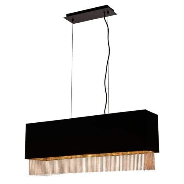 Fringe 4 Light Rectangular Ceiling Pendant Matt Black Gold Lined Shade