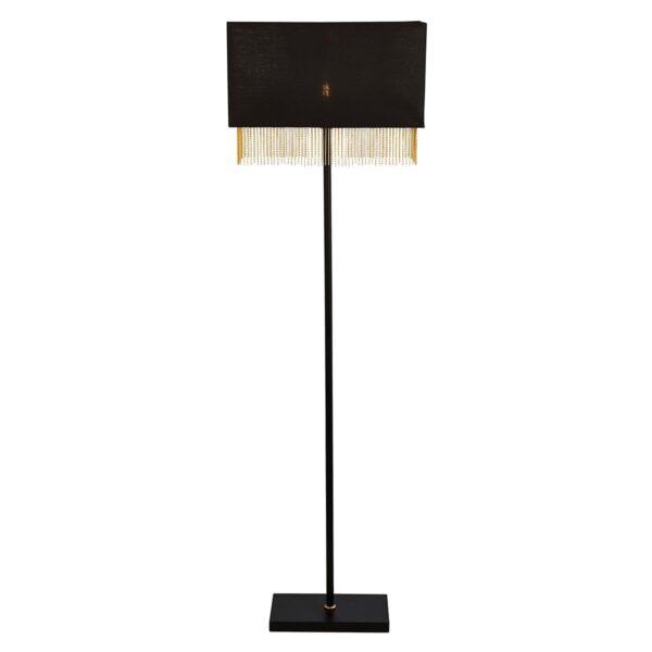 Fringe 1 Light Floor Lamp Matt Black Gold Lined Rectangular Shade