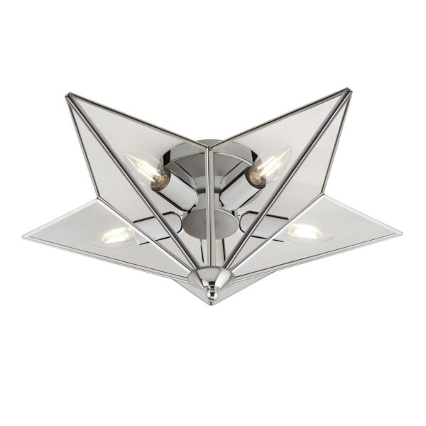 Flush 5 Lamp Star Shaped Low Ceiling Light Polished Chrome Clear Glass