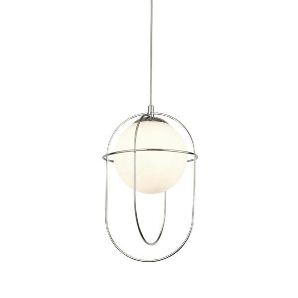 Axis Single Light Polished Chrome Ceiling Pendant Opal White Glass