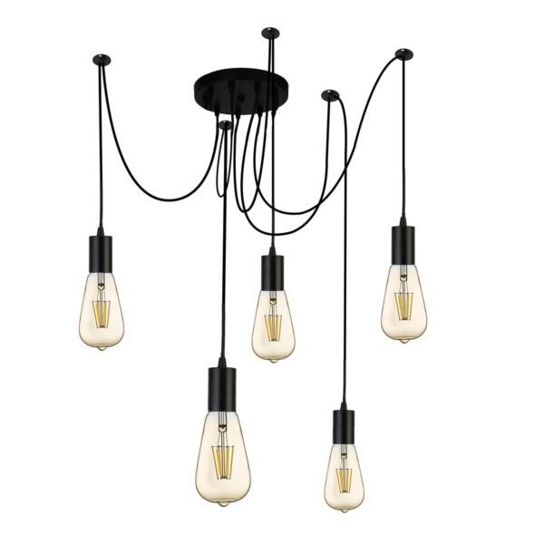 Searchlight 5 Light Swagged Industrial Style Ceiling Pendant Matt Black