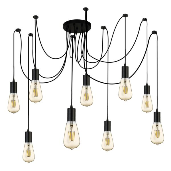 Searchlight 9 Light Swagged Industrial Style Ceiling Pendant Matt Black