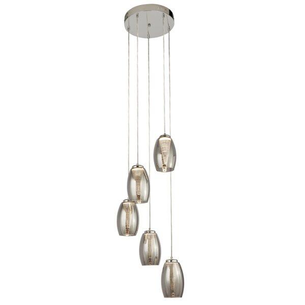 Modern 5 Light LED Multi Drop Smoked Glass Ceiling Pendant Chrome