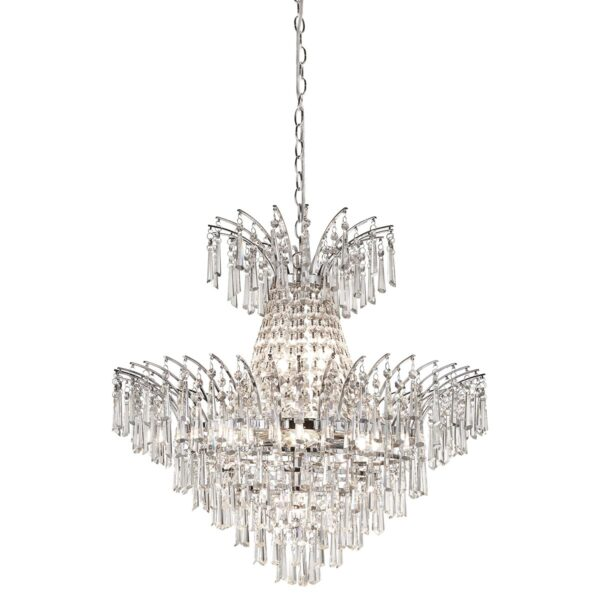 Spectacular 9 Light Crystal Chandelier Ice Drops Polished Chrome