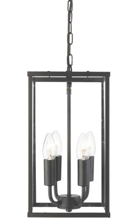 Voyager 4 Light Rectangular Hanging Lantern Black Clear Glass