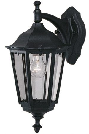 Alex Traditional Black Aluminium Downward Outdoor Wall Lantern IP44