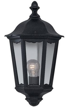 Alex Traditional Black Flush Outdoor Wall Lantern IP44