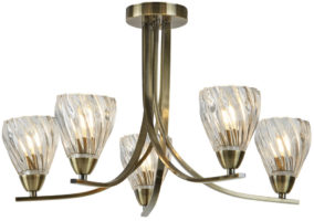 Ascona II Antique Brass 5 Light Semi Flush Ceiling Light Twisted Glass