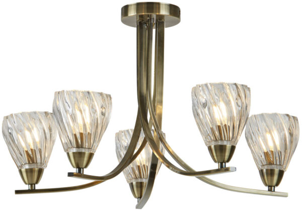 Ascona II Antique Brass 5 Light Semi Flush Ceiling Light Twisted Glass