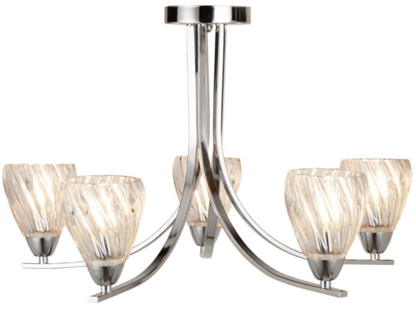 Ascona II Polished Chrome 5 Light Semi Flush Ceiling Light Twisted Glass