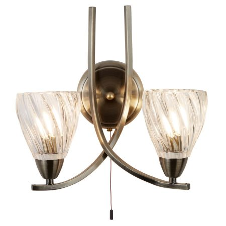 Ascona II Antique Brass 2 Lamp Switched Wall Light Twisted Glass