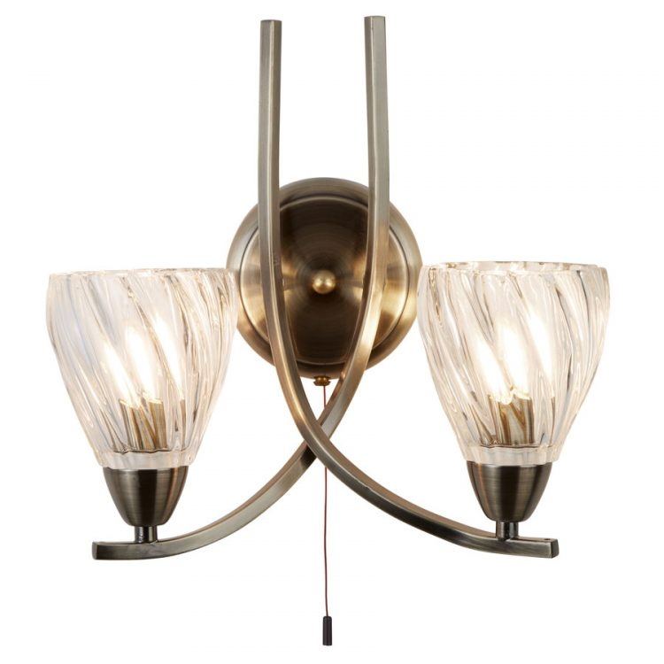 Ascona ii antique brass 2 lamp switched wall light twisted glass aloadofball Gallery