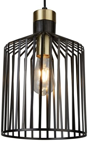 Bird Cage 1 Light Medium Pendant Ceiling Light Black & Gold