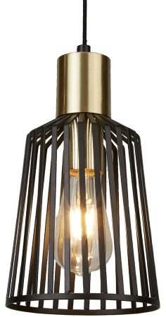 Bird Cage 1 Light Small Pendant Ceiling Light Black & Gold
