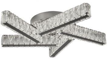 Clover 5 Arm Flush Cool White LED Ceiling Light Polished Chrome Crystal
