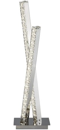 Clover Cool White LED Twin Column Table Lamp Polished Chrome Crystal