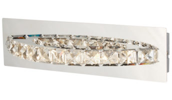 Clover Cool White LED Switched Curved Chrome Wall Light Crystal
