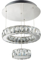 Clover Cool White LED 2 Tier Pendant Light Polished Chrome Crystal