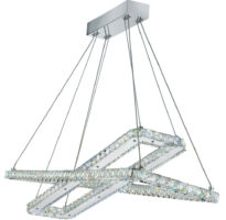 Clover Twin Rectangle 40W LED Pendant Light Polished Chrome Crystal