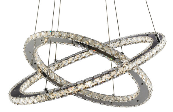 Clover Twin Ring 28W LED Pendant Light Polished Chrome Crystal