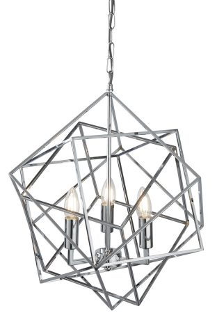 Cube 3 Light Geometric Pendant Ceiling Light Polished Chrome