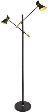 Diablo 2 Light LED Spot Light Floor Lamp Matt Black & Gold