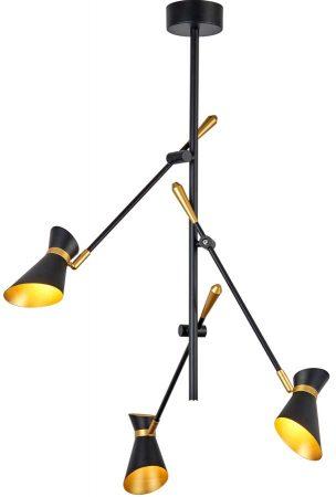 Diablo 3 Light LED Ceiling Spot Light Pendant Matt Black & Gold