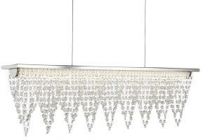 Drape 15w LED Polished Chrome 65cm Pendant Light Bar Crystal Waterfall