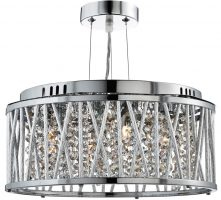 Elise 3 Light Ceiling Pendant Polished Chrome Crystal Diamond Cut Tubes