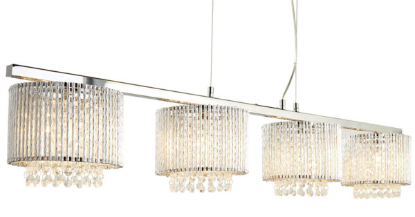 Elise 4 Light Ceiling Pendant Bar Chrome Crystal Diamond Cut Tubes