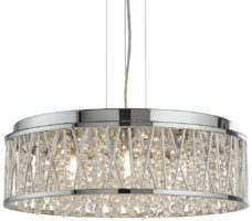 Elise Large 7 Light Ceiling Pendant Chrome Crystal Diamond Cut Tubes