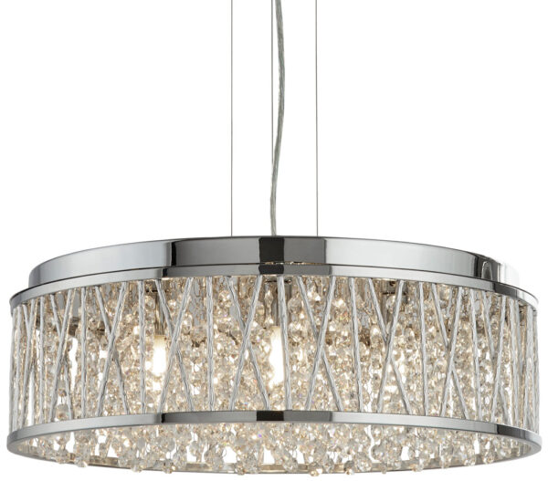 Elise Large 7 Light Ceiling Pendant Chrome Crystal Diamond Cut Tubes