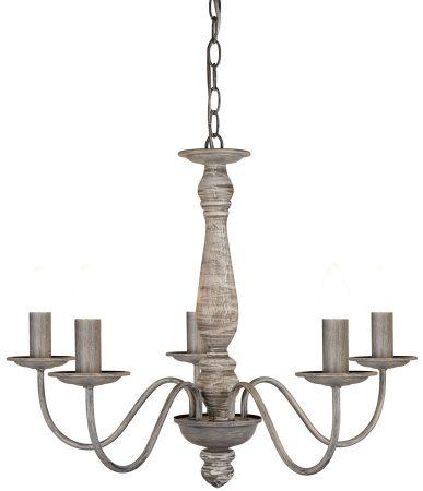 Florence 5 Light Chandelier Wood Spindle Column Washed Grey