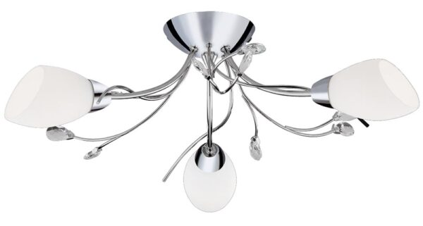 Gardenia Polished Chrome Semi Flush 3 Light Fitting Opal Shades Crystal