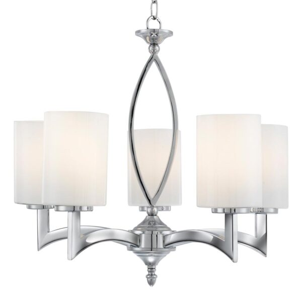 Gina 5 Light Chandelier Polished Chrome White Glass Shades