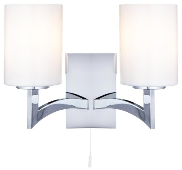 Gina Switched Twin Wall Light Polished Chrome White Glass Shades